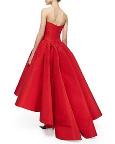 Strapless Cat-Ear-Bodice High-Low Gown, Grenadine by Zac Posen