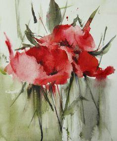 """Poppies 4"" - Watercolor by Annemiek Groenhout (Dutch, b. 1946)"