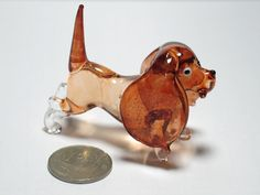 Craft Collectible MINIATURE HAND BLOWN GLASS Brown Dog FIGURINE Animals