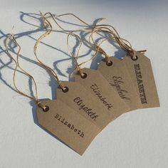 10 VINTAGE PERSONALISED WEDDING NAME PLACE TAGS Shabby Chic - Choice Of Fonts
