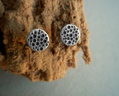 The Silvery Moon - Sterling Silver Moon Studs - Hammered - Textured - Full Moon - For Her