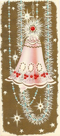 """When Christmas bells are swinging above the fields of snow, we hear sweet voices ringing from lands of long ago, and etched on vacant places are half-forgotten faces of friends we used to cherish, and loves we used to know.""  Ella Wheeler Wilcox quotes (American poet and writer 1850-1919) <. (vintage, pink, gold, Christmas, Xmas card)"