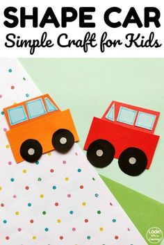 Try this easy and fun shape car craft for a quick art project with the kids! Easy Crafts for Kids