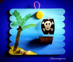Kalóz, kalózhajó, spatula, iskola, school, tongue-spatula, pirate ship, pirate Olaf, Snowman, Disney Characters, Fictional Characters, Handmade, Shelves, Ship, School, Art