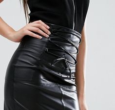 a401861b73 ASOS Leather Skirt with High Waist Corset Detail at asos.com