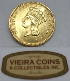1873 Indian Princess Head Gold Dollar, Large Head - Little Bend - #B10764