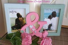 ♥♥ Custom Designed Solid Wood Pastel Blue & Green + Flowers  &  Photo Frame ♥♥