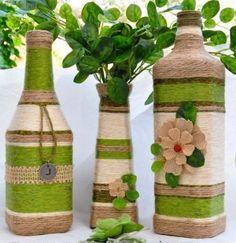 Obiecte decorative realizate artistic din sticle de sticla si lana – 20 idei frumoase