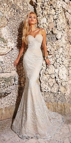 24 Romantic Bridal Gowns Perfect For Any Love Story ❤ mermaid sweetheart lace embroidered blush romantic bridal gowns ashley justin ❤ Full gallery: https://weddingdressesguide.com/romantic-bridal-gowns/ #bride #wedding #bridalgown