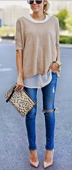 I think my favorite thing about this is the sheer undershirt... #Outfit #Brown #Sweater #White #Top #Denim #Heels
