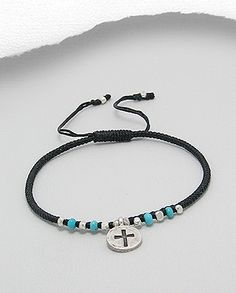 """$18.00 Product Features: Bracelet  Product Type: Bracelet Product Design: Cross Metal: 925 Sterling Silver Material: Cotton Waxed Thread Beaded With: Turquoise (Reconstructed) Length: Adjustable from 6"""" to 9"""""""