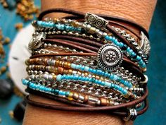 7 strands, big lobster claw, Miyuki metallic seed beads Boho Chic Endless Leather Wrap Bracelet. 3 wraps?