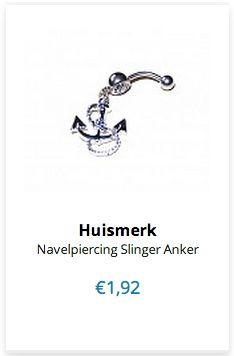 Navelpiercing Slinger Anker www.ovstore.nl/nl/meer-categorieen/sieraden