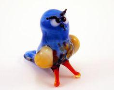 Blown Glass Owl Miniature Owl Sculpture Owl Figurine Owls Flamework Murano Glass