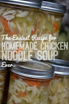 The Easiest Recipe for Homemade Chicken Noodle Soup, EVER. The Easiest Recipe for Homemade Chicken Noodle Soup, EVER. Mason Jar Meals, Mason Jars, Meals In A Jar, New Recipes, Soup Recipes, Favorite Recipes, Recipies, Lunch Recipes, Cooker Recipes