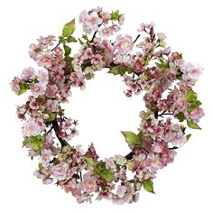 Cherry Blossom Wreath-Is it springtime yet? Have the Cherry Blossoms bloomed? That's the feeling this stunning 24 inch Cherry Blossom Wreath will bring forth, no matter what time of year it is. People flock from all over to see the Cherry Blosso Pink Wreath, Tulip Wreath, Berry Wreath, Floral Wreath, Flower Wreaths, Fake Flowers, Artificial Flowers, Silk Flowers, Fabric Flowers