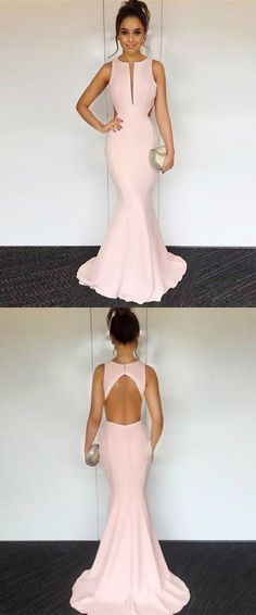 elegant pink mermaid prom dresses, fashion open back party dresses, chic cut out sweep train evening gowns