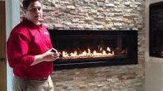 linear gas fireplace  - stone backed