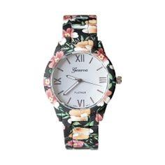 Zegarek kwiaty drobne czarny idealny na wiosnę