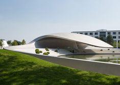 The Porsche Pavilion designed by HENN Architekten, Wolfsburg, Germany