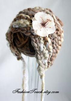 Knit Baby Bonnet, Newborn Baby Girl Hat, Baby Hat, Knit Baby Hat in Handspun Beige Yarn. $30.00, via Etsy.