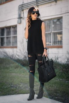 My love for distressed denim is no secret. This all black outfit is chic and edgy all at the same time, and these jeans are comfortable & under $100!                                                                                                                                                                                 More