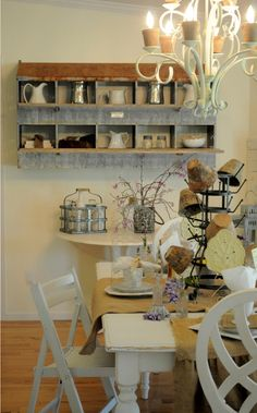 eclectic dining room by Buckets of Burlap chick feeder shelf. I am normally not a fan of the shabby/chic look, but this one has alot of personality wtihout looking too contrived and predictable! Country Decor, Rustic Decor, Farmhouse Decor, Farmhouse Ideas, Farmhouse Style, Primitive Decor, Vintage Country, Chicken Coop Decor, Chicken Coup