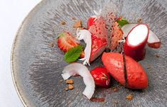 Coconut panna cotta with strawberry gel, strawberry sorbet and cut Sweet Eve strawberries - Colin McGurran