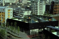 """Nexus World Housing, Fukuoka, OMA, 1991. """"Like an earlier scheme in the shadow of the Berlin Wall, the project explores a fusion of the Roman city - sections of Pompeii, for instance, form continuous tapestries where houses never become objects- and similar experiments by Mies van der Rohe where individual courtyard houses are consolidated to form blocks, so that the substance of modern architecture is condensed to generate urban form"""""""