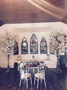 Wedding Ceremony Room: Cherry Blossoms, Bride & Groom Chair Decor with Unity Candle Arrangement