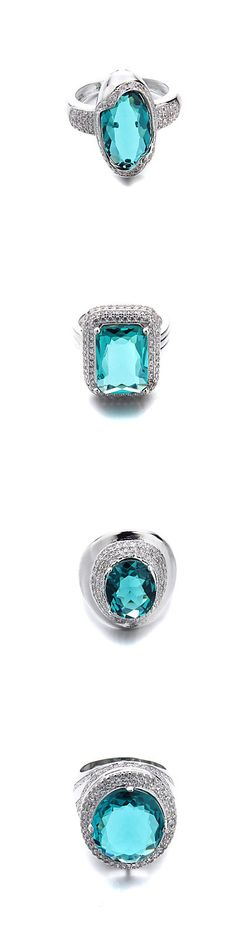 Blue or green? Whatever, we love this color, right? Check out these beautiful crystal rings!