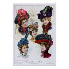 Frühe der Winter-Hüte der Vintagen Damen ab 1900 Plakatdruck
