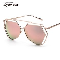 BOUTIQUE New Women 5 Colour Luxury Geometry Cat Eye Sunglasses Twin-Beams Alloys Frame