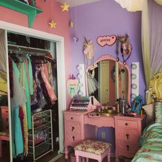 a few of my favourite things in this room is unicorn hanging accessories My Room, Girl Room, Pastel Room, Kawaii Room, Aesthetic Room Decor, Room Goals, Dream Rooms, Cool Rooms, Room Inspiration