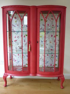 Beautiful Red Bow Fronted China Cabinet by WindsorHomeTreasures, £249.00