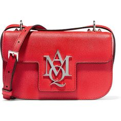 Alexander McQueen Insignia textured-leather satchel (€1.005) via Polyvore featuring bags, handbags, red, satchel handbags, red crossbody purse, cross body strap purse, satchel purses и structured purse