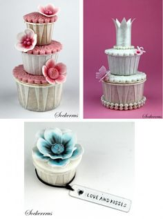 love the deep aqua colors of this cupcake.  And the towers . . . .  hmmmm