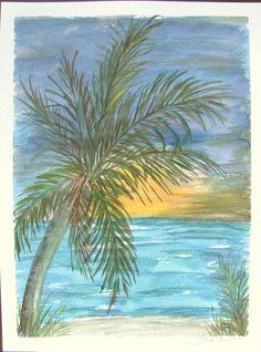 Painted Jan 2016 Original Watercolor Painting Palm Tree Beach by FranHurstArt. $45.00, via Etsy.: