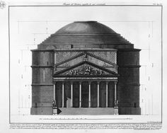 Elevation, Pantheon, Rome - Piranesi.