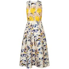 L.K. Bennett Ine Printed Floral Dress (680 NZD) ❤ liked on Polyvore featuring dresses, flower dress, floral pattern dress, sleeveless fit and flare dress, white embellished dress and sleeveless dress