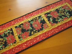 Quilted Table Runner Christmas Poinsettia Handmade Home Decor patchworkmountain.com