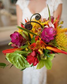 Colorful Tropical Bridal Bouquet by Petals - Anna Kim Photography