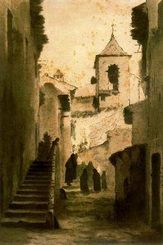 Modest Urgell Inglada (1839 - 1919). Fiesta Mayor. Lápiz y acuarela. 31 x 21 cm. Colección Araguas.