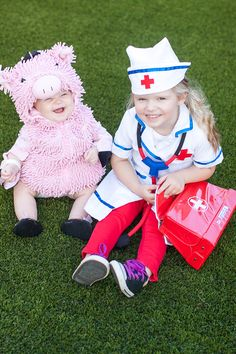 Halloween Costumes!!! Pig Costume and Doctor / Nurse Costume