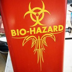 @bravofarmtiques had me trace over the original Bio Hazard logo and add my own touch to this trash can ;) #biohazard #trashcan #pinstriping #pinstriped #pinstriper #imitationgold #1shotpaints #brothersofthebrush