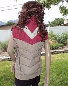 vtg 80 s DOWN puffy vest chevron stripe colin canadian goose ski womens  medium  colin Vintage 615a2ebb9
