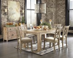 Mestler 7pc Rectangular Textured Dining Set in Bisque