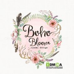 boho chic logo design flower logo design by stylemesweetdesign