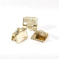 1 embout à griffes de 8mmx6mm pour création bijoux en plaqué or 16 carats