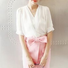 Buy 'Chika – Short-Sleeve V-Neck Chiffon Blouse' with Free International Shipping at YesStyle.com. Browse and shop for thousands of Asian fashion items from China and more!